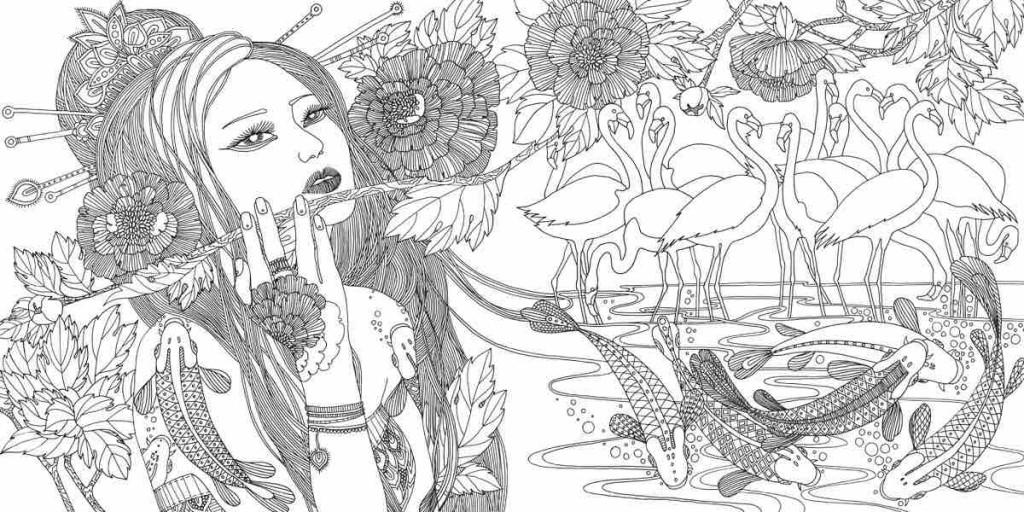 раскраски для взрослых раскраски с изображениями девушек