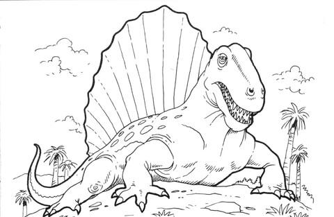 Диметродон динозавр. Раскраски онлайн для мальчиков и девочек с динозаврами Динозавр диметродон. Распечатать раскраски на сайте.