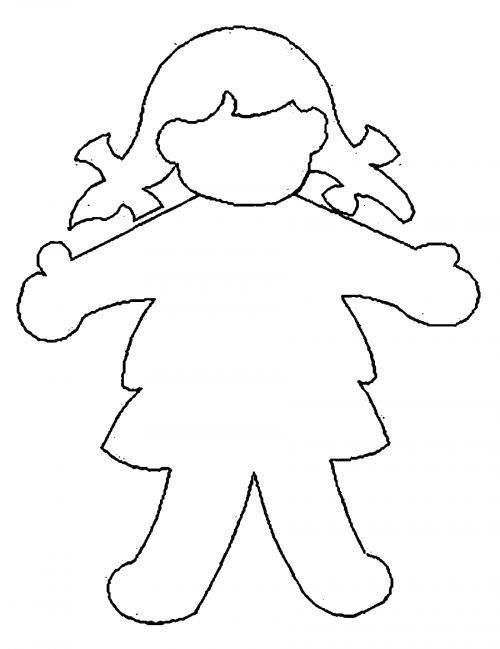 Раскраски Контуры девочка Раскраски Контуры девочки для вырезания из бумаги