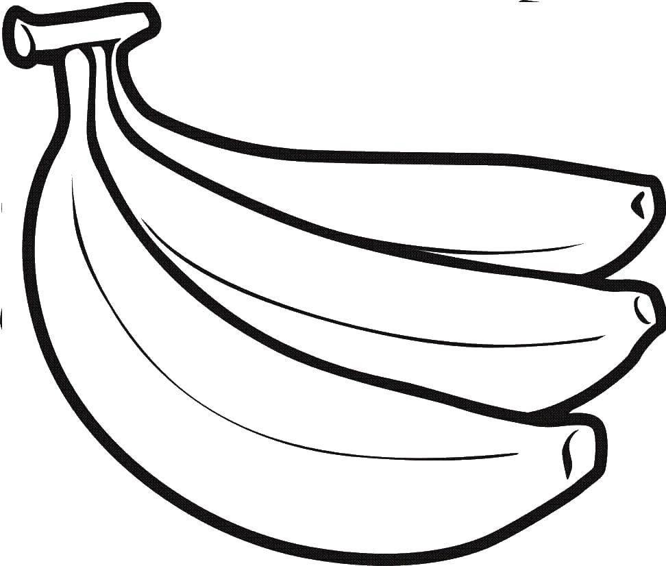 Раскраски контуры для вырезания фрукты для малышей, контуры для вырезания из бумаги детям  Бананы