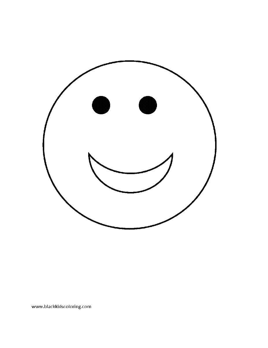 Раскраски контуры смайлик, раскраски эмоции смайлики  Широкая улыбочка