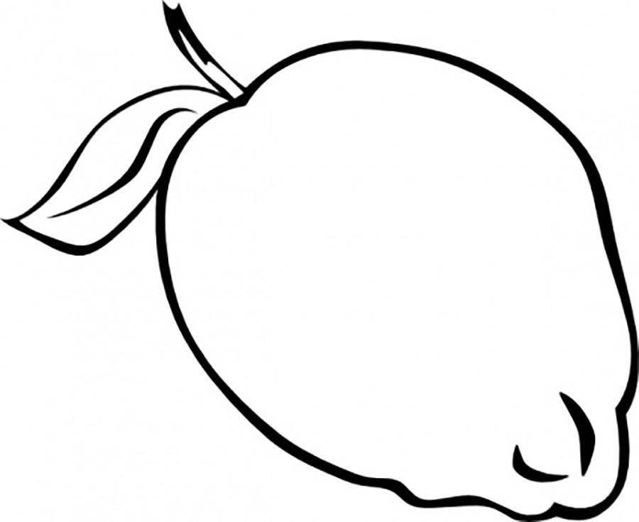 Раскраски контуры для вырезания фрукты для малышей, контуры для вырезания из бумаги детям  Лимон