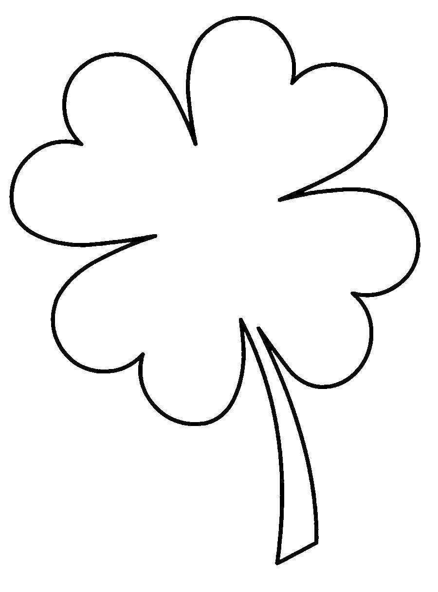 Раскраски контуры для вырезания листья детям  Клевер