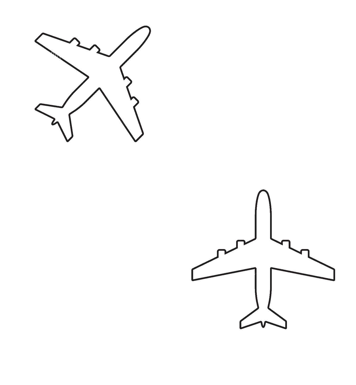 Раскраски контуры самолет для вырезания из бумаги для малышей  Два самолета