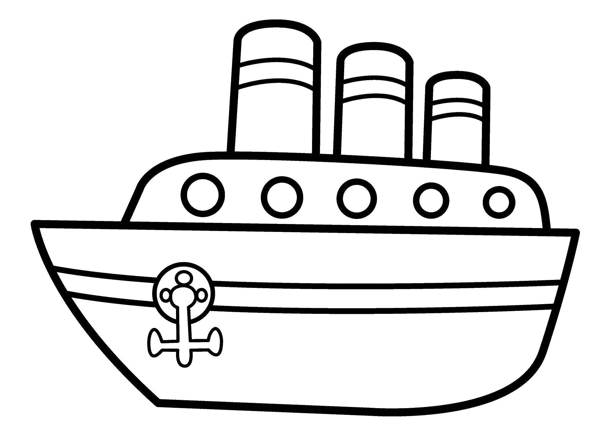 Раскраски контуры корабль  Кораблик на воде