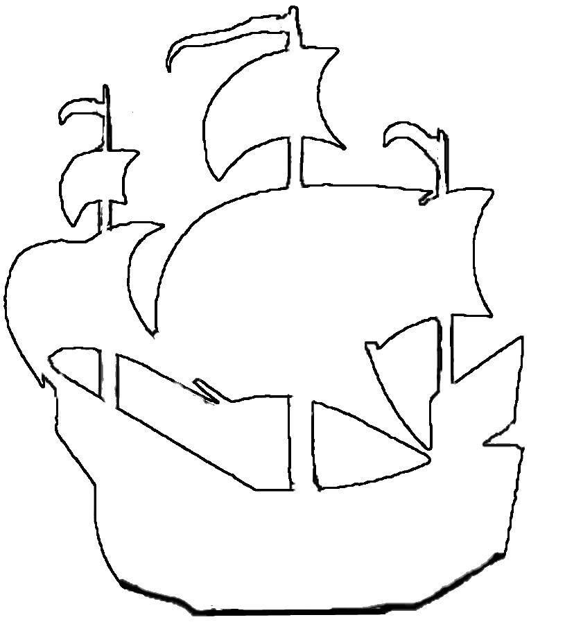 Контуры лодка раскраски  Контур корабля