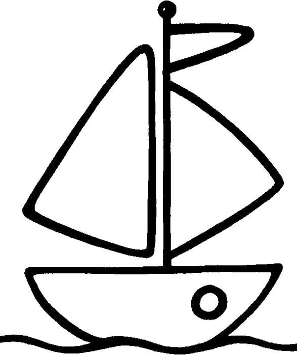 Раскраски контуры корабль  кораблик для маленьких