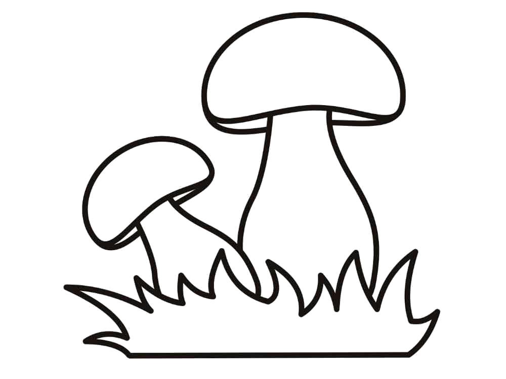 Раскраски контуры грибов для вырезания из бумаги для занятий в начальной школе  гриб контур для аппликации