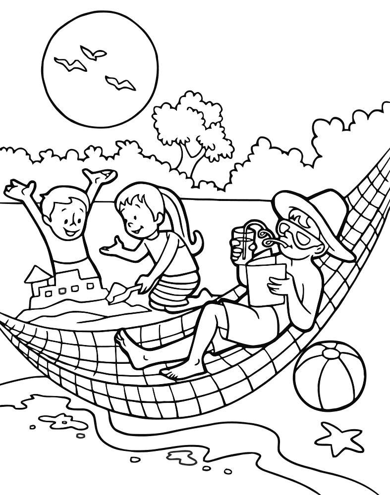 летние раскраски для детей