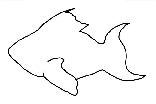 толстая рыбка  Раскраски контуры морских животных для вырезания из бумаги детям
