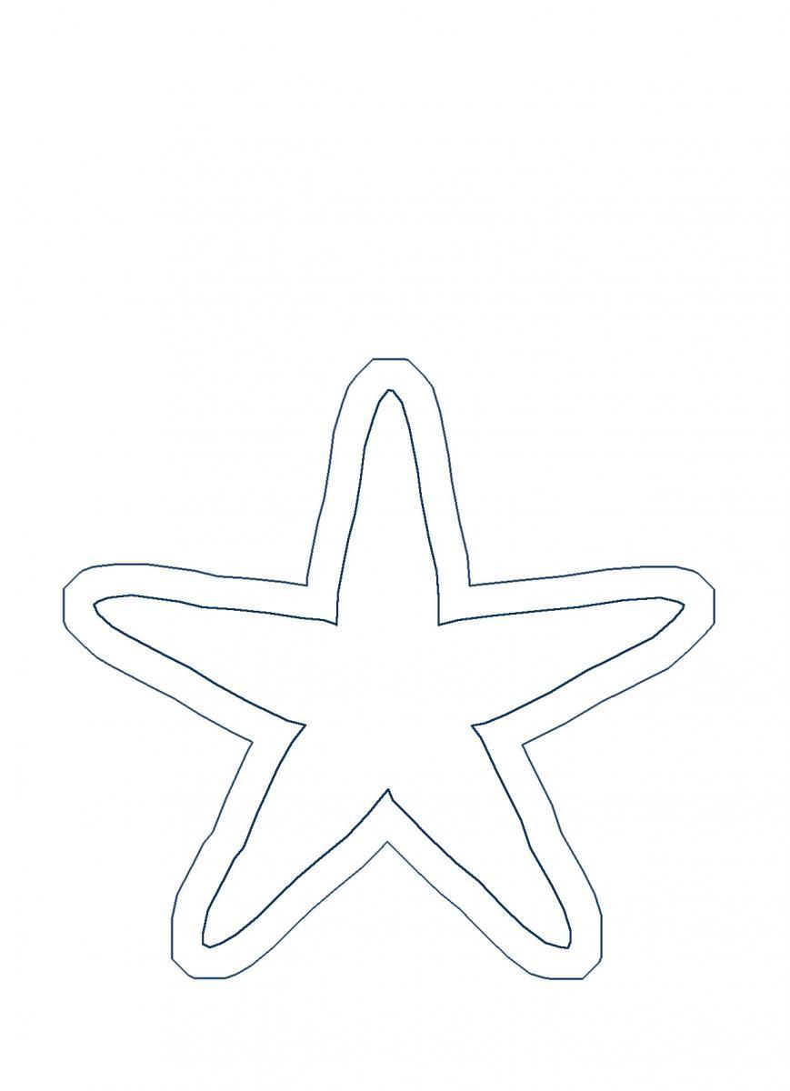 звезда  Раскраски контуры морских животных для вырезания из бумаги детям