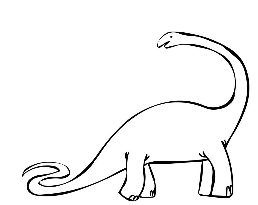Бронтозавр динозавр с длинным хвостом и длинной шеей. Скачать раскраску онлайн и распечатать