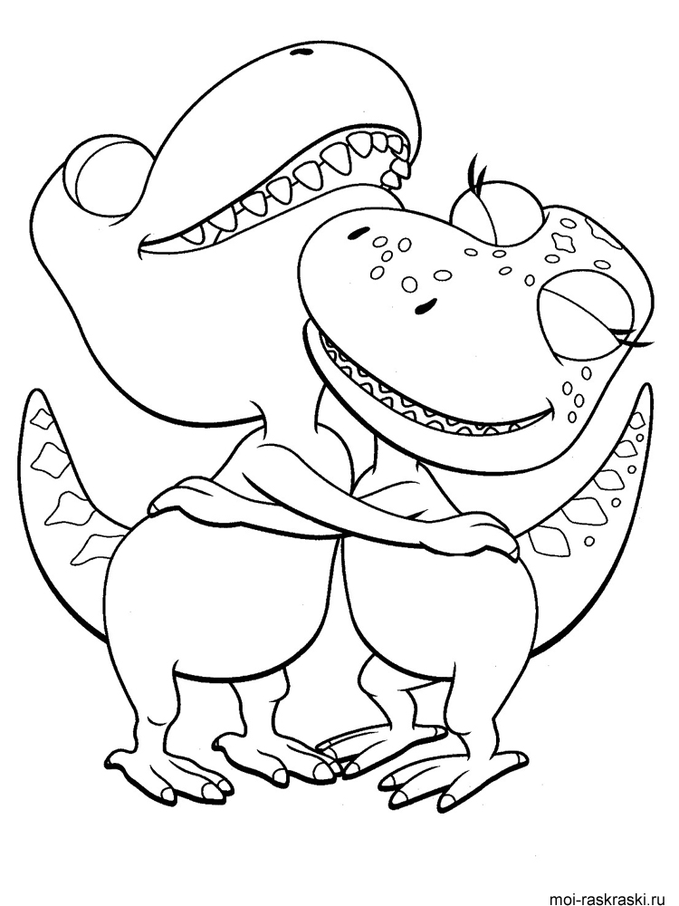 раскраски для детей из мультфильма поезд динозавров