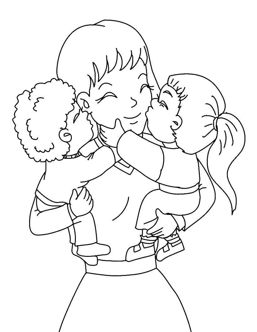 раскраски для детей, желающих поздравить своих мам с их праздником - днем матери.  Нежные и милые раскраски, посвященные матерям. Для детей, желающих поздравить своих с мам с днем матери. Красивые раскраски с изображениями мам, детей, подарков.