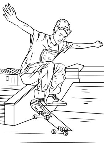 Раскраски для детей со скейтбордистами. Раскраски скейтбординг. Спортивные раскраски для детей. Скачать бесплатно раскраски для детей. Детские бесплатные раскраски.