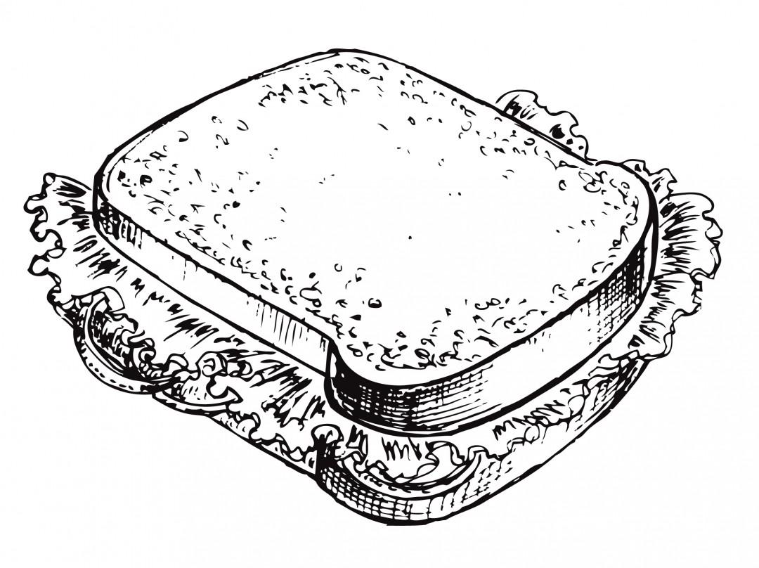 Раскраски на тему еда. Раскраски для детей и малышей на тему еда, с изображениями аппетитных сэндвичей.