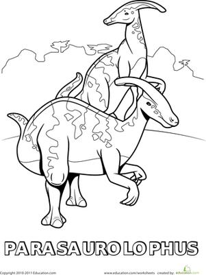 Раскраски с динозаврами. Парасоуропхус Скачать раскраску динозавра  Парасоуропхуса