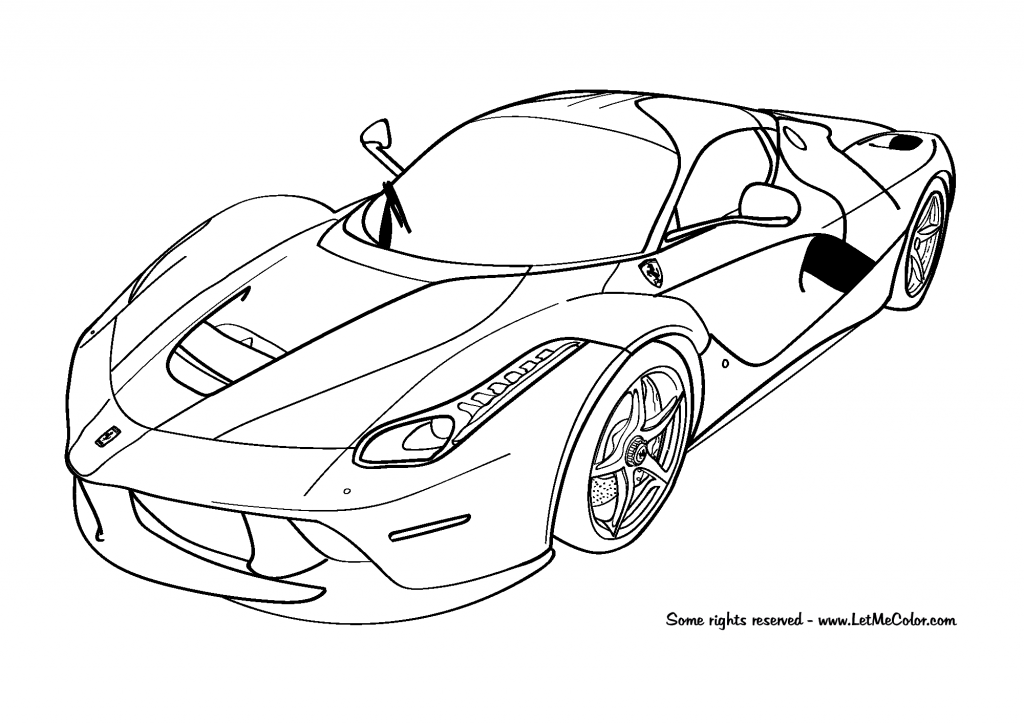 раскраски на тему машины Ferrari  для детей.  раскраски с машинами Ferrari для мальчиков и девочек
