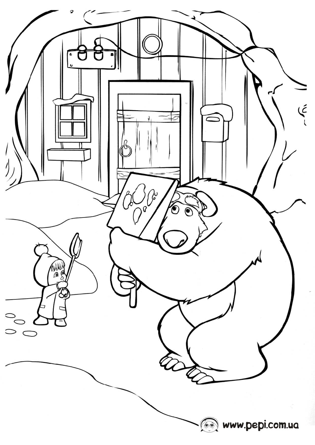 раскраски на тему маша и медведь