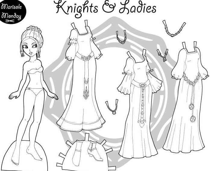 раскраски с бумажными куклами для детей