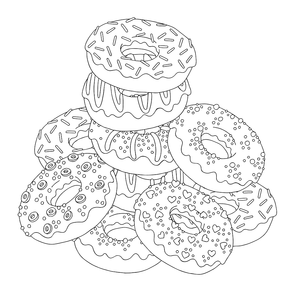 сладости раскраски для взрослых раскраски с едой