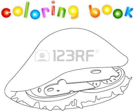 Раскраски для взрослых и детей с изображением  сэндвичей . Раскраски,на которых изображены сэндвичи . Раскраски на тему еда - сэндвич .