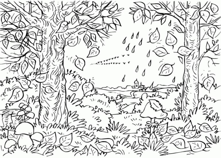 раскраски на тему осень для детей