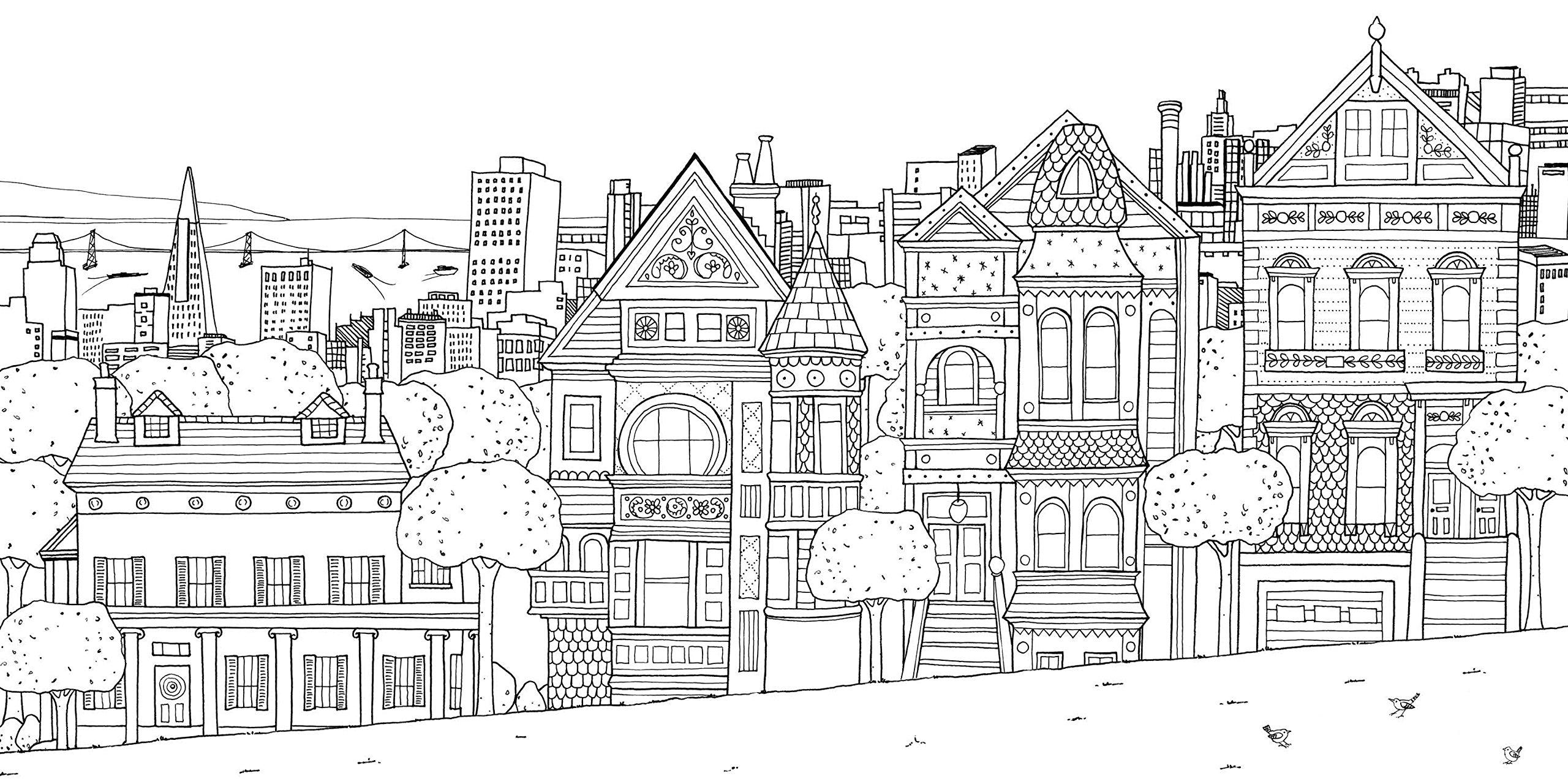 скачать бесплатные раскраски для взрослых раскраски с городами