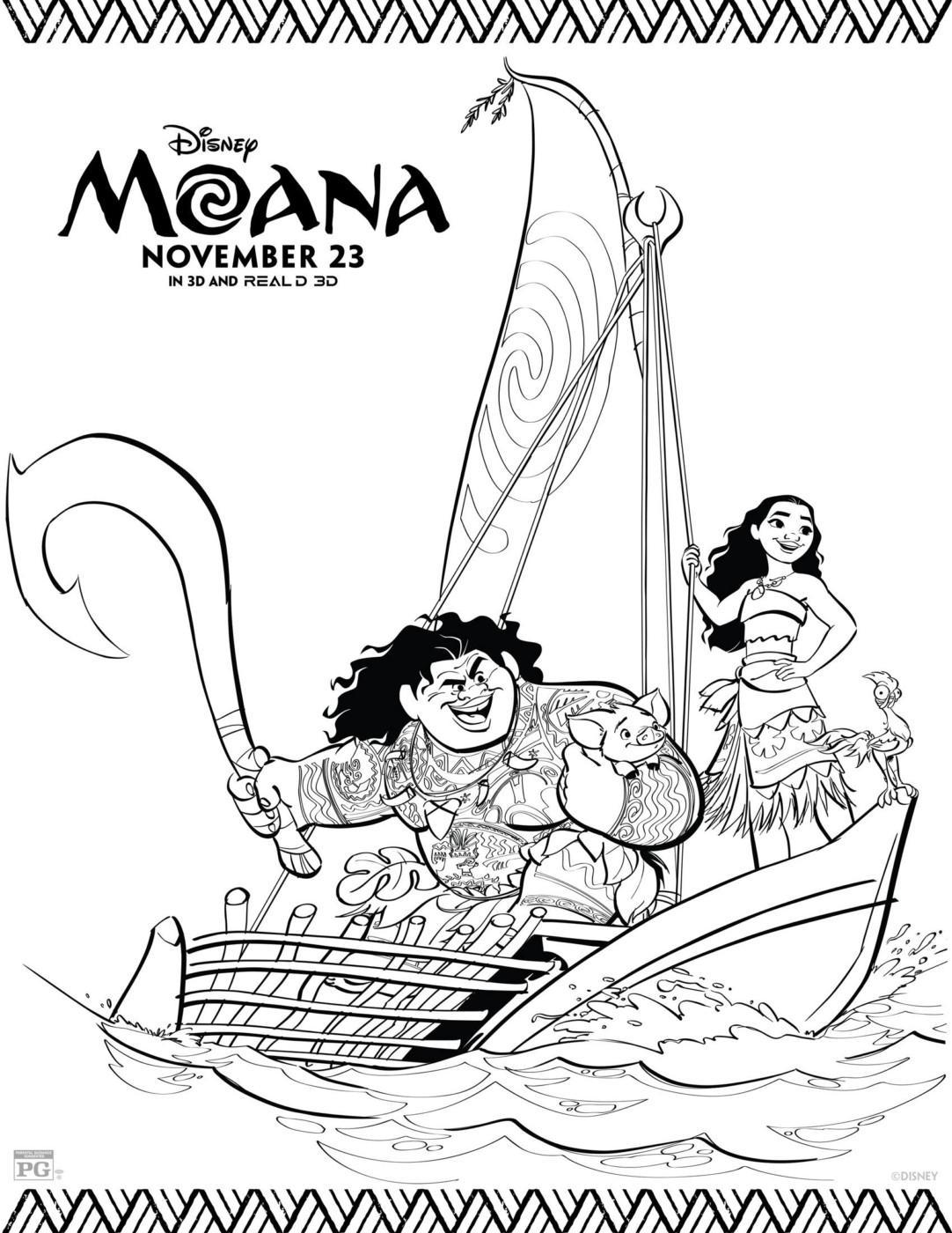 раскраски к современному мультфильму моана для детей