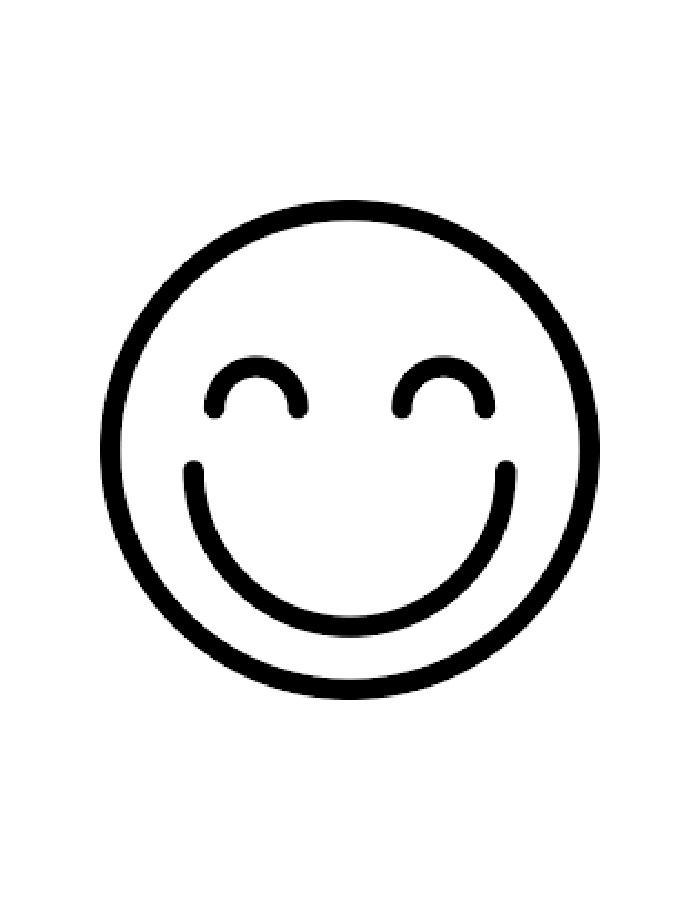 Раскраски контуры смайлик, раскраски эмоции смайлики  Раскраска довольный смайлик