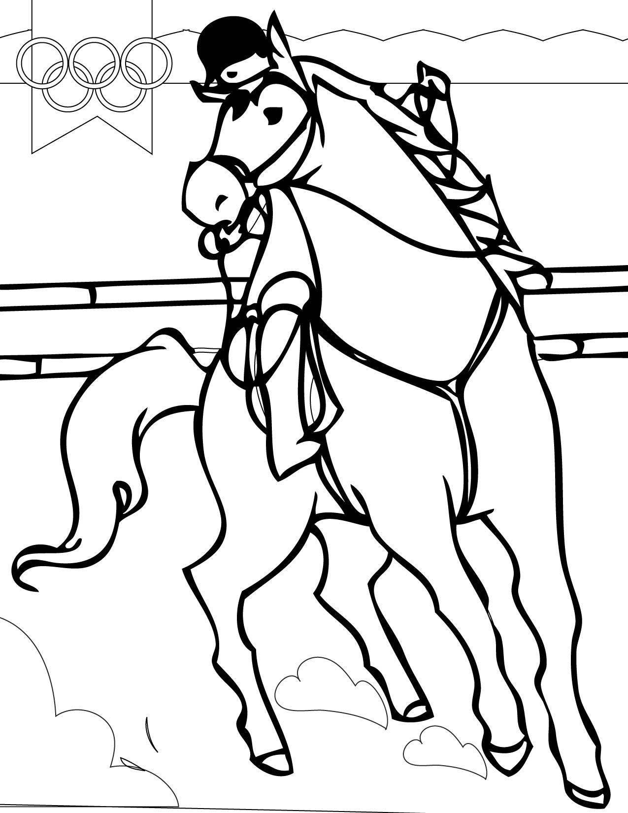 Раскраски конный спорт Раскраски конный спорт. Раскраски скачки, всадник на лошади. Красивая скаковая лошадь