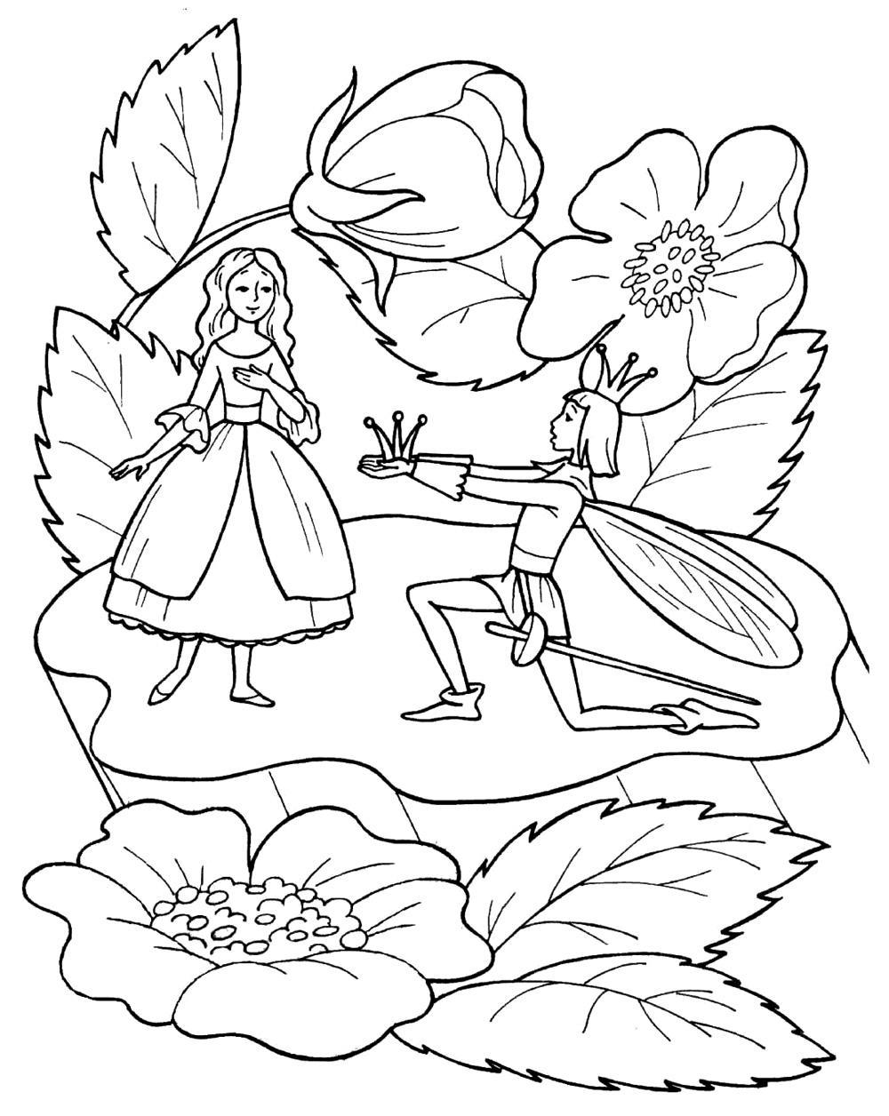 Раскраски Дюймовочка Раскраски по мультфильму дюймовочка для девочек