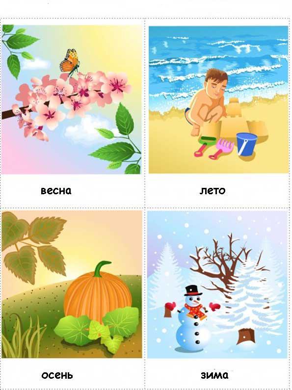Карточки времена года Красочные карточки про времена года для детей. Карточки времена года для занятий в младших группах детского сада. Карточки домана времена года