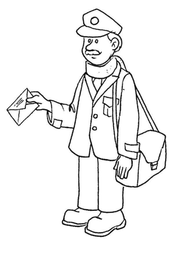 Раскраски Почтальон Раскраски Почтальон для детей, раскраски про сотрудников почты для детей