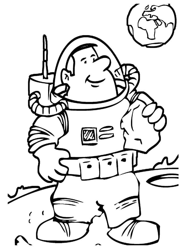 Раскраски Космонавт Раскраски Космонавт, раскраски про сотрудников космической отрасли для детей