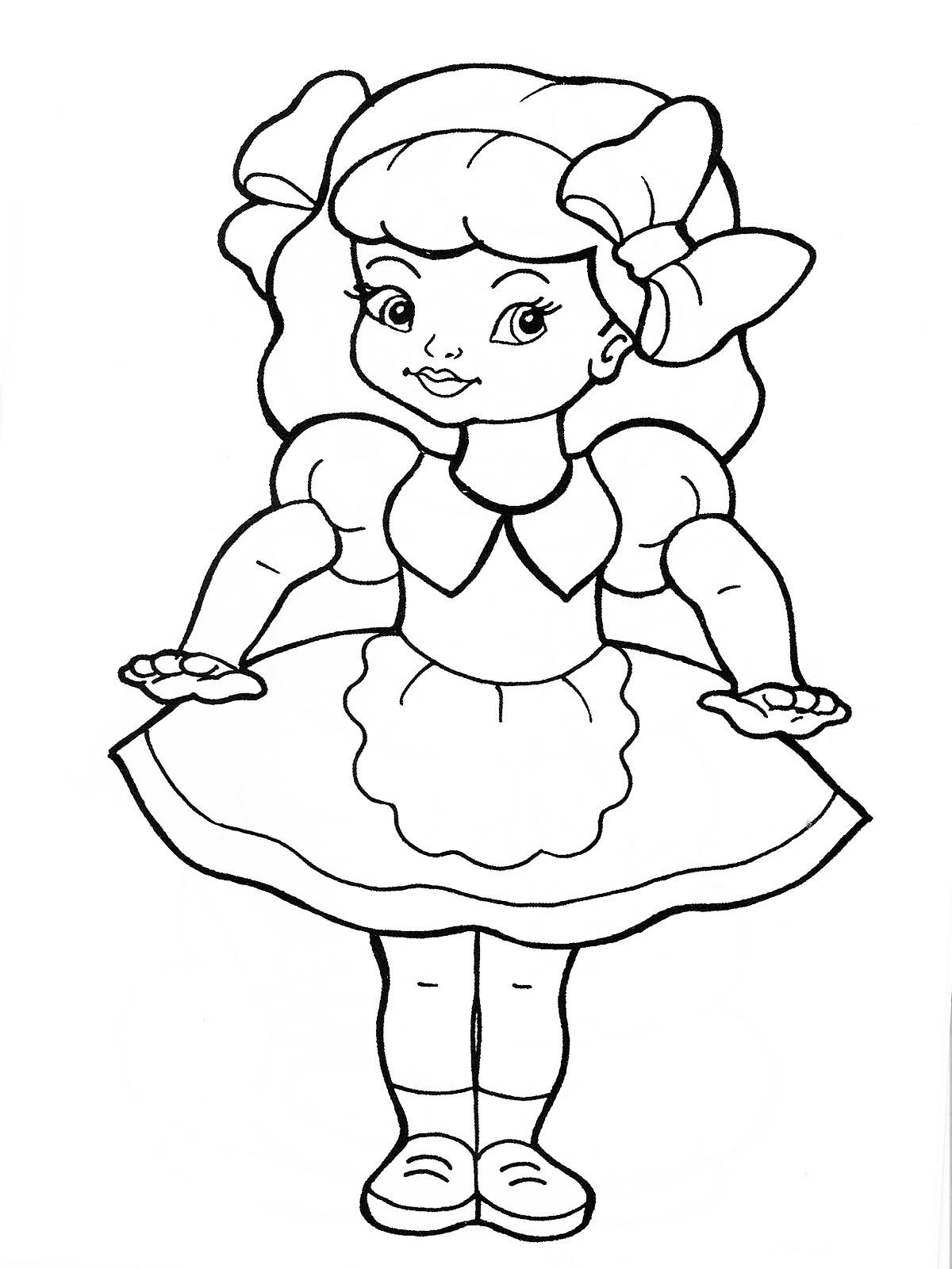 Раскраски куклы Раскраски куклы, раскраски для девочек с красивыми куклами