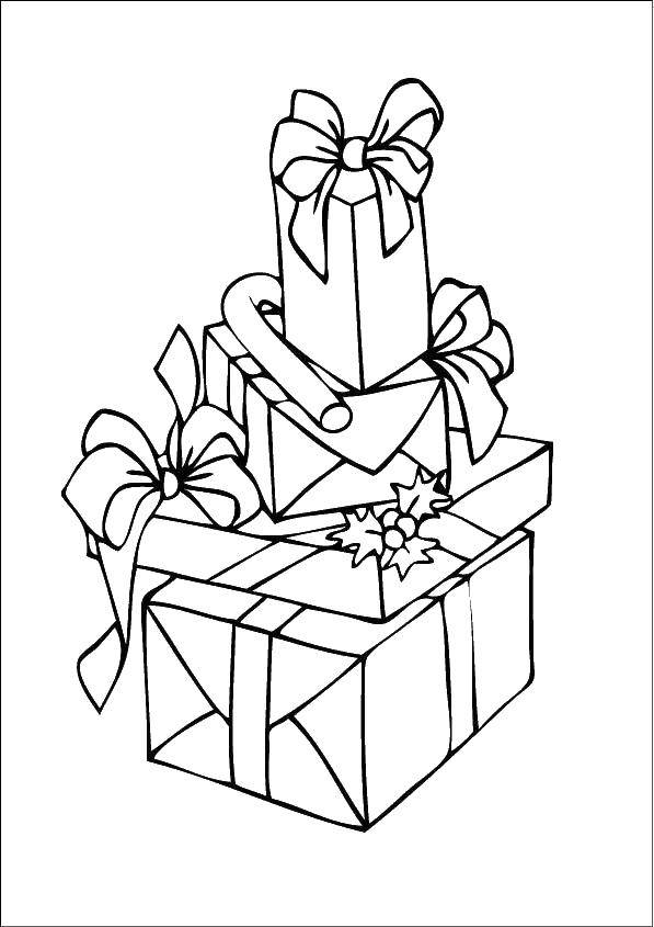 Раскраски подарки Раскраски подарков в упаковке для малышей