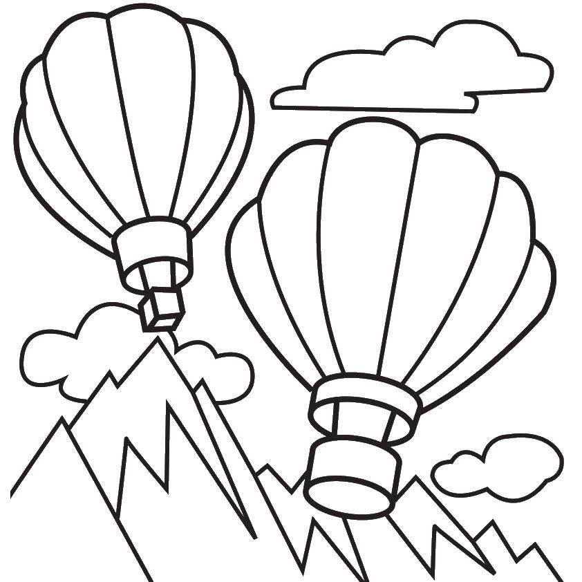 Раскраски воздушные шары и дирижабли Раскраски воздушные шары и дирижабли, раскраски для детей с воздушным транспортом , воздушный шар для путешествий, раскраски дирижабль в небе