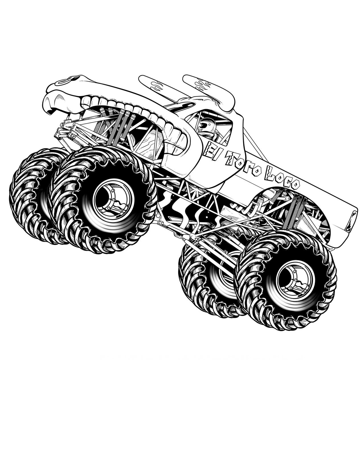 Раскраски Монстр-Трак Раскраски Монстр-Трак, бигфуты, машины с большими колесами