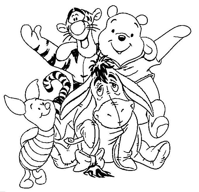 раскраски из зарубежного мультфильма про винни пуха и его