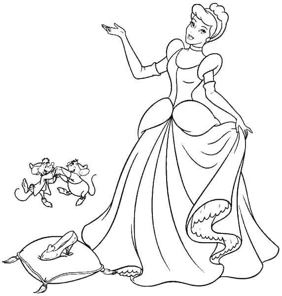 раскраски про золушку для девочек