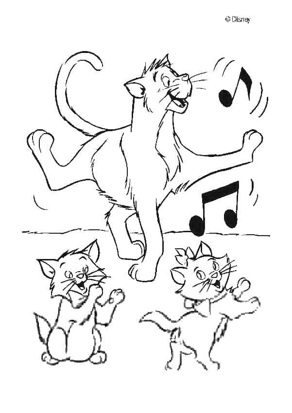 коты аристократы раскраски для малышей