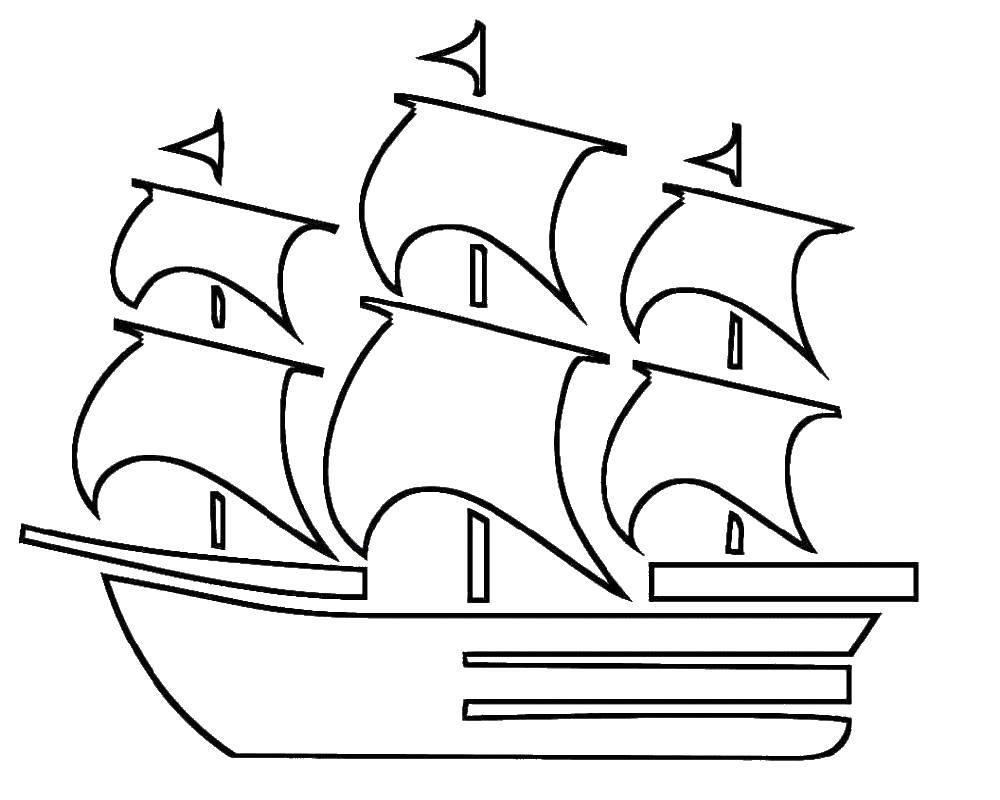 Раскраски контуры корабль  Парусный корабль