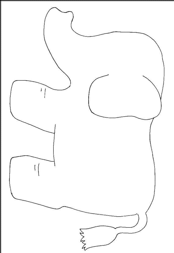 Слоник Раскраска контур - слон.