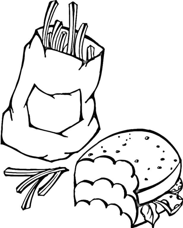 Раскраски еды хлеб торты пицца  Фастфуд