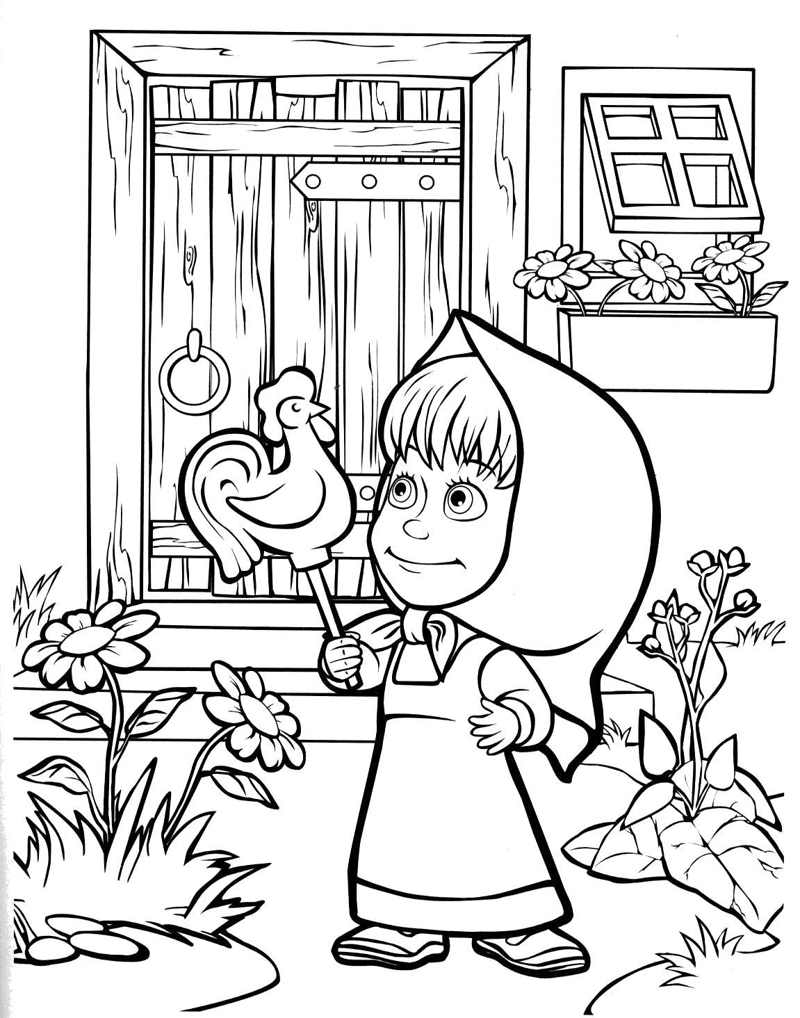 раскраски для детей про озорную машу из мультфильма маша и
