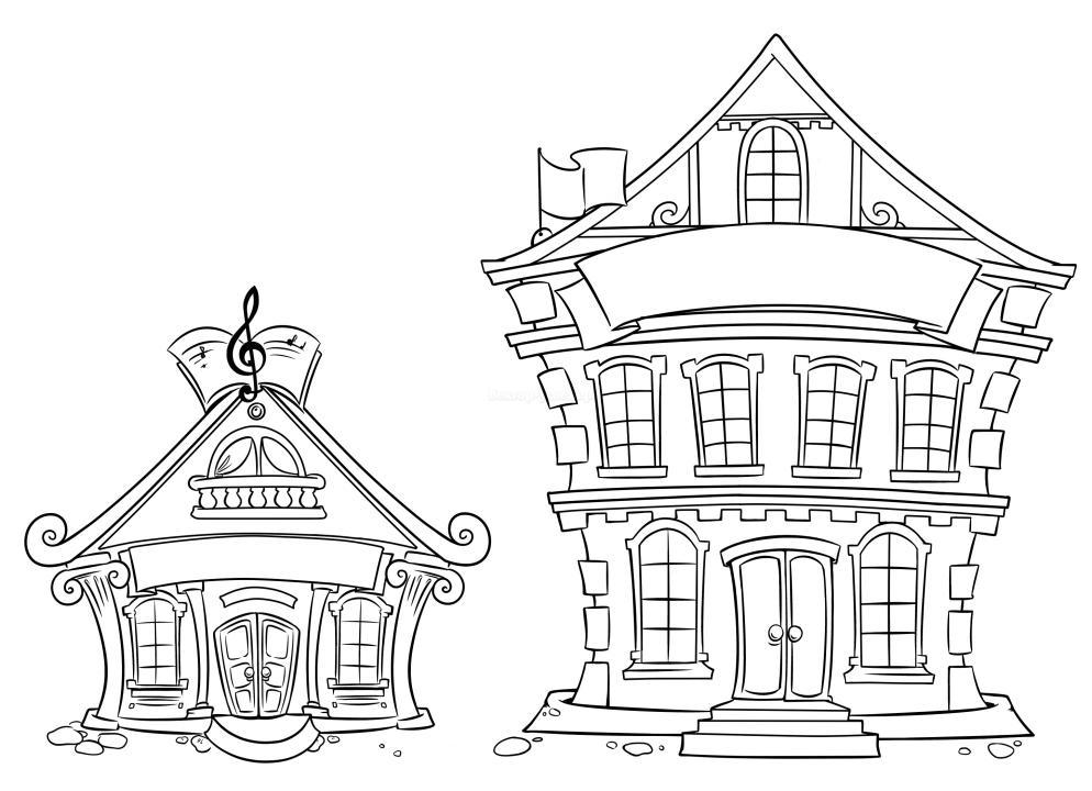 Раскраски ахитектура дома здания построение   Раскраски ахитектура дома здания построение