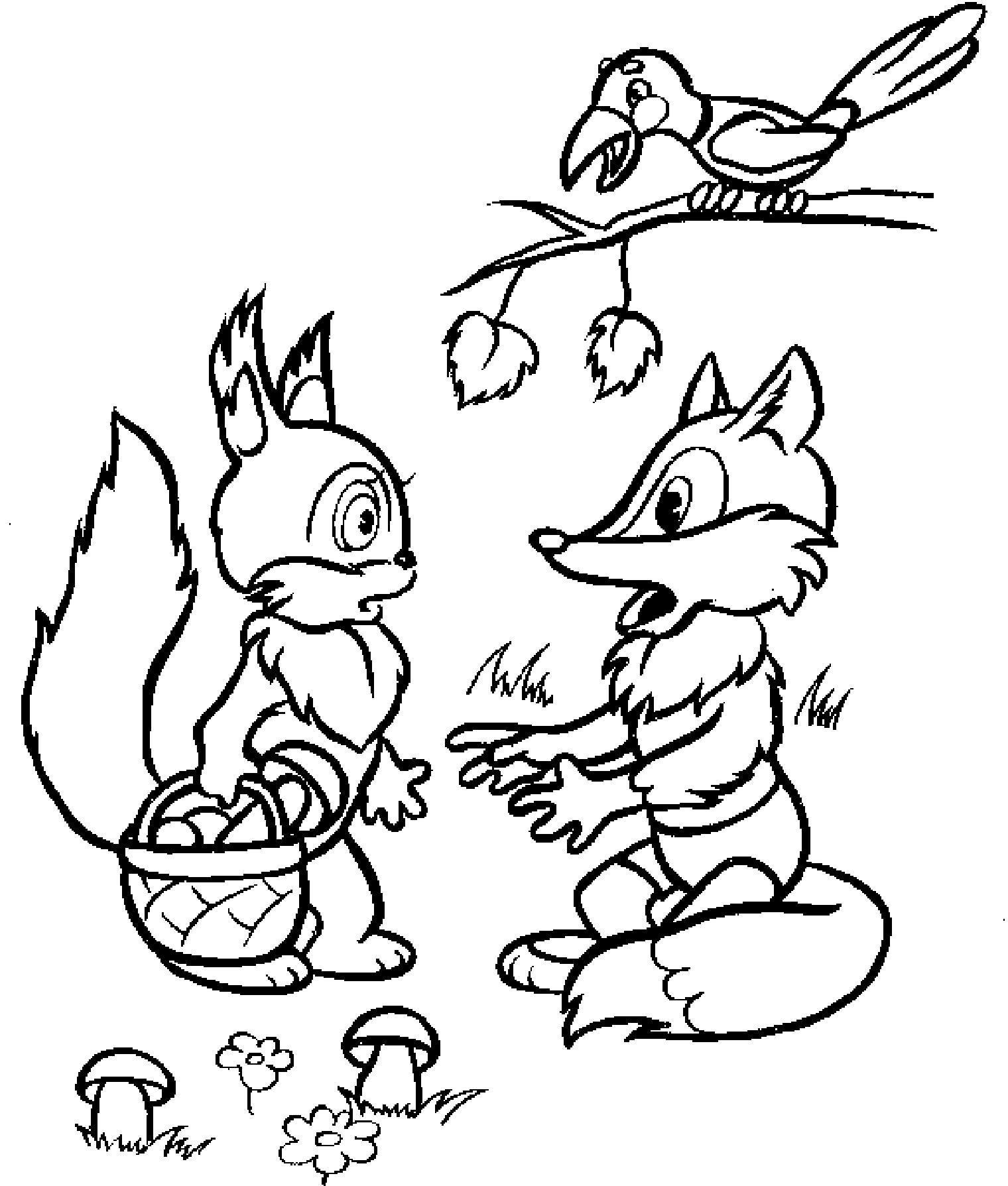 раскраски с животными из сказок для детей
