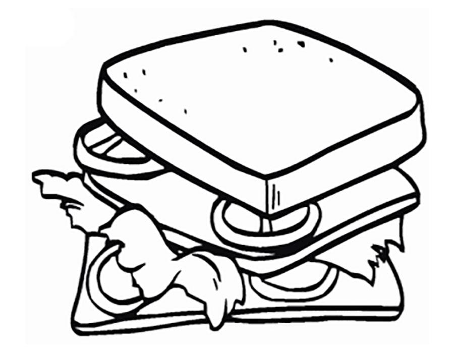 Сэндвичи. Еда. Раскраски на тему еда.  Сэндвичи. Еда. Раскраски на тему еда. Раскраски для детей и малышей на тему еда, с изображениями аппетитных сэндвичей. Раскраски с едой.