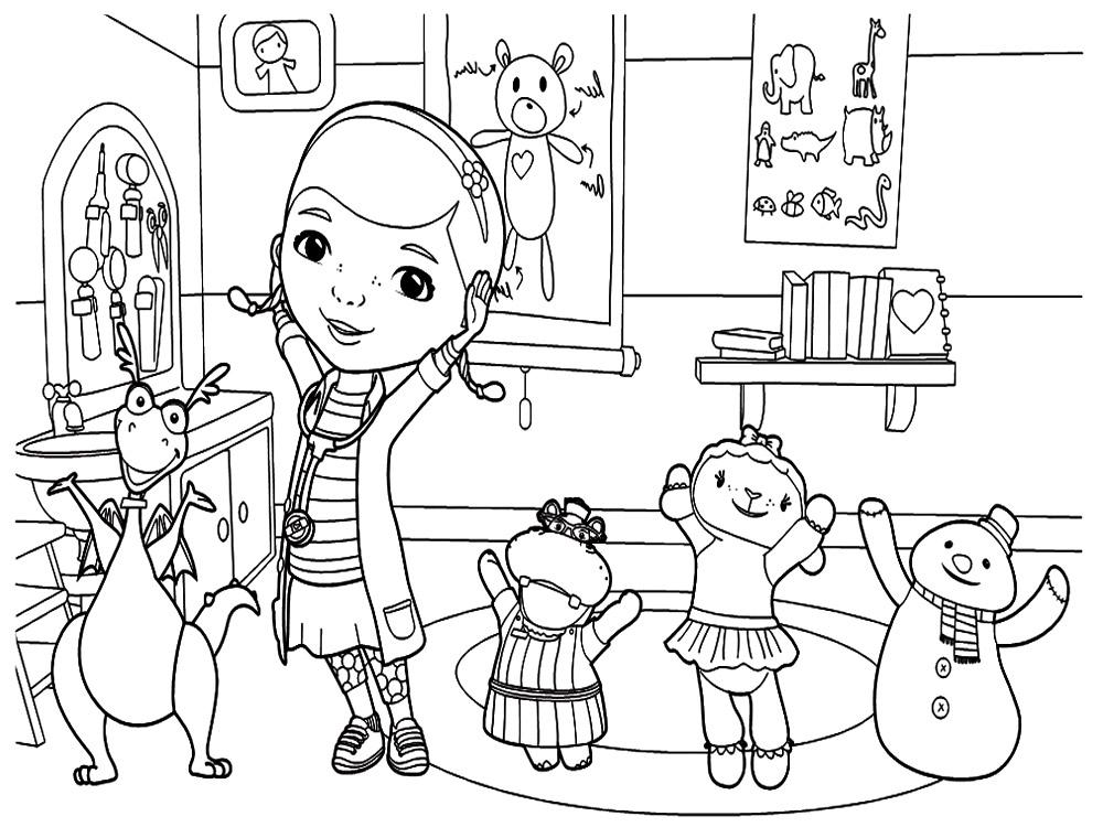 раскраски на тему доктор плюшева для детей